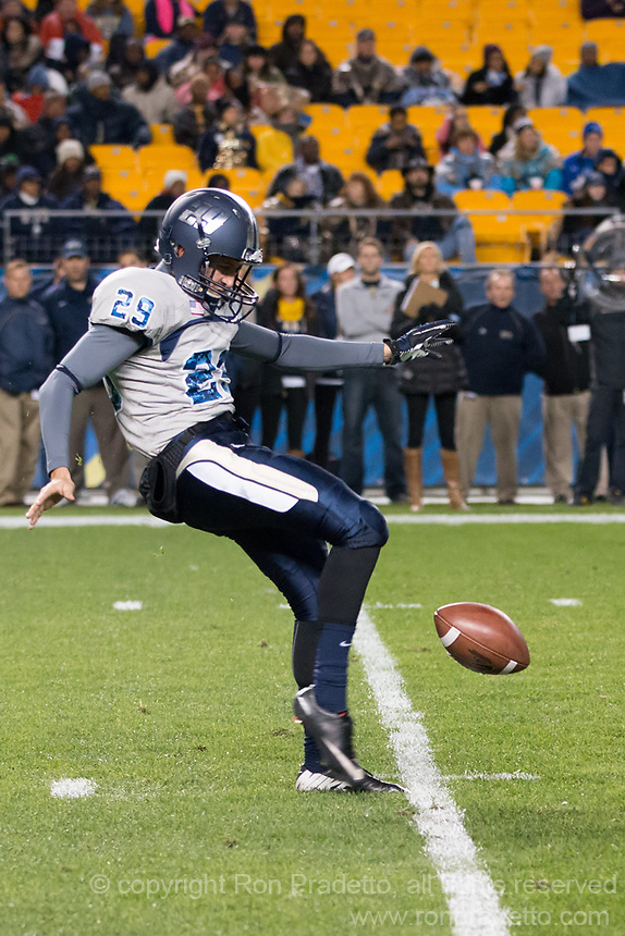 Old Dominion punter Joe Pulisic. The Pitt Panthers defeated the Old Dominion Monarchs 35-24 at Heinz Field, Pittsburgh, Pennsylvania on October 19, 2013.