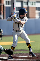 Michigan Wolverines catcher Griffin Mazur (13) at bat against the Michigan State Spartans on March 21, 2021 in NCAA baseball action at Ray Fisher Stadium in Ann Arbor, Michigan. Michigan scored 8 runs in the bottom of the ninth inning to defeat the Spartans 8-7. (Andrew Woolley/Four Seam Images)