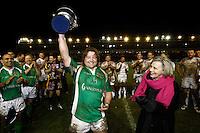 Photo: Richard Lane/Richard Lane Photography. England Legends v Ireland Legends. The Stuart Mangan Memorial Cup. 26/02/2010. Ireland's victorious captain, Shane Byrne receives the trophy from Una Mangan.