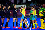 The players shake hands and bump fists before during the Sentinel Homes Trans Tasman Series hockey match between the New Zealand Black Sticks Women and the Australian Hockeyroos at Massey University Hockey Turf in Palmerston North, New Zealand on Tuesday, 1 June 2021. Photo: Dave Lintott / lintottphoto.co.nz