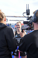 NZ's Stacey Michelsen is interviewed after the Sentinel Homes Trans Tasman Series hockey match between the New Zealand Black Sticks Women and the Australian Hockeyroos at Massey University Hockey Turf in Palmerston North, New Zealand on Sunday, 30 May 2021. Photo: Dave Lintott / lintottphoto.co.nz