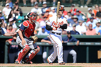 Baltimore Orioles first baseman Chris Davis (19) at bat in front of catcher Ryan Lavarnway (20) during a spring training game against the Boston Red Sox on March 8, 2014 at Ed Smith Stadium in Sarasota, Florida.  Baltimore defeated Boston 7-3.  (Mike Janes/Four Seam Images)