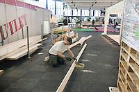 04-02-11, Tennis, Netherlands, Rotterdam, ABNAMROWTT 2011,  Opbouw van het toernooi in Ahoy in volle gang,