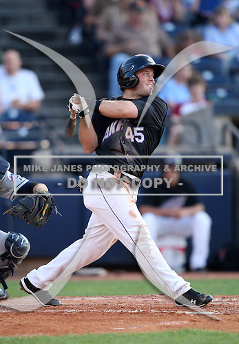 Akron Aeros Outfielder Tim Fedroff (45) during a game vs. the Binghamton Mets at Eastwood Field in Akron, Ohio;  June 25, 2010.   Binghamton defeated Akron 5-3.  Photo By Mike Janes/Four Seam Images