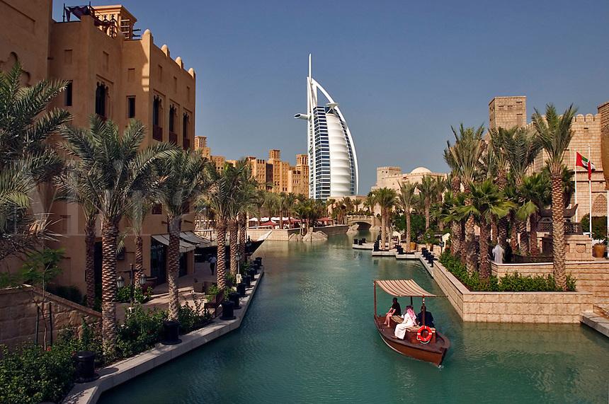 Dubai, United Arab Emirates. Madinat Jumeirah. Burj al Arab Hotel, .Mina A'Salam Hotel and Convention Centre. Souk. Water taxi. Abra..