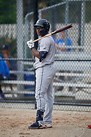 GCL Tigers West Kelvin Smith (3) on deck during a Gulf Coast League game against the GCL Blue Jays on August 3, 2019 at the Englebert Complex in Dunedin, Florida.  GCL Blue Jays defeated the GCL Tigers West 4-3.  (Mike Janes/Four Seam Images)