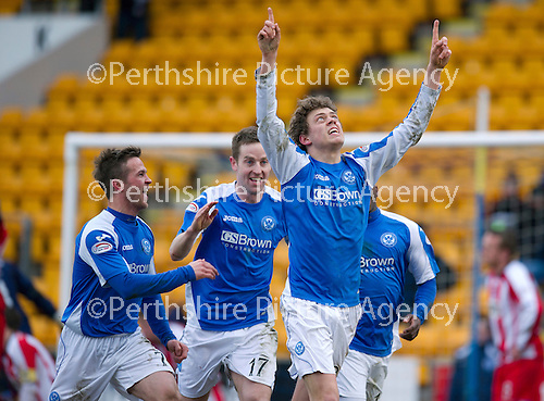 St Johnstone v Kilmarnock.....09.03.13      SPL.Murray Davidson celebrates his goal with Chris Millar and Steven MacLean.Picture by Graeme Hart..Copyright Perthshire Picture Agency.Tel: 01738 623350  Mobile: 07990 594431