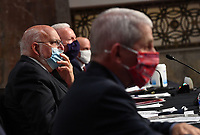 CDC Director Dr. Robert Redfield wears a face mask while testifying before the US Senate Health, Education, Labor and Pensions (HELP) Committee on Capitol Hill in Washington DC on Tuesday, June 30, 2020.  Fauci and other government health officials updated the Senate on how to safely get back to school and the workplace during the COVID-19 pandemic. <br /> Credit: Kevin Dietsch/CNP/AdMedia