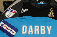 Bradford City warm up tops with Stephen Darbys name on them who earlier in the week announced his retirement from football due to been diagnosed with Motor Neurone Disease before the Sky Bet League 1 match between Doncaster Rovers and Bradford City at the Keepmoat Stadium, Doncaster, England on 22 September 2018. Photo by Thomas Gadd.