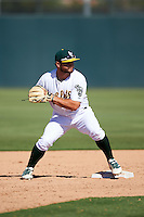 Oakland Athletics Nate Mondou (11) during an Instructional League game against the San Francisco Giants on October 5, 2016 at Fitch Park in Mesa, Arizona.  (Mike Janes/Four Seam Images)