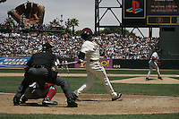 Pedro Martinez and Barry Bonds. Boston Red Sox vs San Francisco Giants. San Francisco, CA 6/19/2004 MANDATORY CREDIT: Brad Mangin