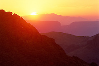 Sunset over Santa Elena Canyon<br />   from near Mule Ears Peaks<br /> Big Bend National Park<br /> Texas