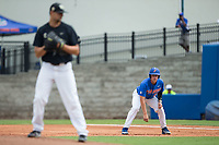 JJ Schwarz (22) of the Florida Gators takes his lead off of first base against the Wake Forest Demon Deacons in Game Three of the Gainesville Super Regional of the 2017 College World Series at Alfred McKethan Stadium at Perry Field on June 12, 2017 in Gainesville, Florida. The Gators defeated the Demon Deacons 3-0 to advance to the College World Series in Omaha, Nebraska. (Brian Westerholt/Four Seam Images)