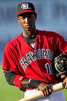 Jurickson Profar #10 of the Hickory Crawdads prior to the game against the Augusta GreenJackets at L.P. Frans Stadium on April 29, 2011 in Hickory, North Carolina.   Photo by Brian Westerholt / Four Seam Images