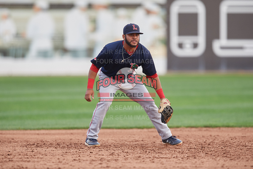 Lowell Spinners third baseman Jonathan Ortega (29) during a game against the Connecticut Tigers on August 26, 2018 at Dodd Stadium in Norwich, Connecticut.  Connecticut defeated Lowell 11-3.  (Mike Janes/Four Seam Images)