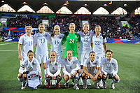 Lorient, France. - Sunday, February 8, 2015: of the USWNT. USA Starting XI. France defeated the USWNT 2-0 during an international friendly at the Stade du Moustoir.