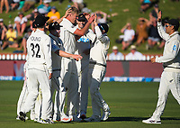 The Black Caps congratulate Kyle Jamieson on his five-wicket bag after the dismissal of Alzarri Joseph during day two of the second International Test Cricket match between the New Zealand Black Caps and West Indies at the Basin Reserve in Wellington, New Zealand on Friday, 11 December 2020. Photo: Dave Lintott / lintottphoto.co.nz