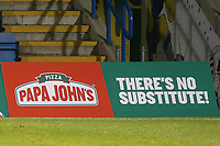 Advertising Boards around the perimeter of the pitch promote Pizza Papa John's, the new sponsors of the Cup Competition during Gillingham vs Arsenal Under-21, Papa John's Trophy Football at the MEMS Priestfield Stadium on 10th November 2020
