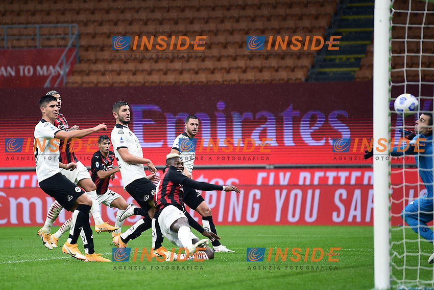 Rafael Leao of AC Milan scores a goal during the Serie A football match between AC Milan and Spezia Calcio at San Siro Stadium in Milano  (Italy), October 4th, 2020. Photo Image Sport / Insidefoto