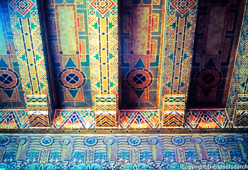 Vancouver: Georgia Medical-Dental Building. Lobby Ceiling. Art Deco with bright terra cotta tile.