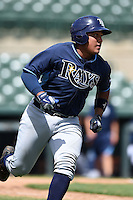 Tampa Bay Rays catcher David Rodriguez (68) during an Instructional League game against the Baltimore Orioles on September 15, 2014 at Ed Smith Stadium in Sarasota, Florida.  (Mike Janes/Four Seam Images)