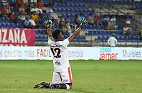 MONTERIA - COLOMBIA, 10-03-2020: Juan Camilo Chaverra arquero de Cucuta celebra un gola de su equipo durante el partido por la fecha 8 de la Liga BetPlay DIMAYOR I 2020 entre Jaguares de Córdoba F.C. y Cúcuta Deportivo jugado en el estadio Jaraguay de la ciudad de Montería. / Juan Camilo Chaverra goalkeeper of Cucuta celebrates a goal of his team during match for the date 8 as part BetPlay DIMAYOR League I 2020between Jaguares de Cordoba F.C. and Cucuta Deportivo played at Jaraguay stadium in Monteria city. Photo: VizzorImage / Andres Felipe Lopez / Cont