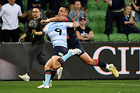 19th March 2021; Melbourne Rectangular Stadium, Melbourne, Victoria, Australia; Australian Super Rugby, Melbourne Rebels versus New South Wales Waratahs; Jack Grant of the Waratahs attempts to stop Matt To'omua of the Rebels