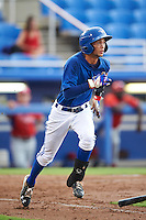 GCL Blue Jays second baseman Kevin Vicuna (1) runs to first base during the first game of a doubleheader against the GCL Phillies on August 15, 2016 at Florida Auto Exchange Stadium in Dunedin, Florida.  GCL Phillies defeated the GCL Blue Jays 7-5 in a continuation of a game originally started on July 30th.  (Mike Janes/Four Seam Images)