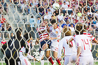 Shannon Boxx (7) of the United States (USA) and Zhang Rui (25) of China (CHN). The United States (USA) women defeated China PR (CHN) 4-1 during an international friendly at PPL Park in Chester, PA, on May 27, 2012.