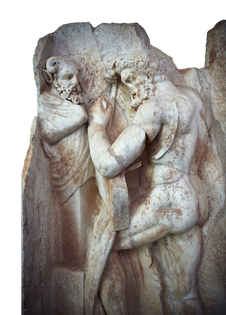 Close up of a Roman Sebasteion relief sculpture of  Herakles is preparing to wrestle the Libyan giant Antaios. Aphrodisias Museum, Aphrodisias, Turkey.    Against a white background.<br /> <br /> Herakles (left) is taking off his bow case to hang it on a pillar statue. Antaios (right) is binding up his head with ear protectors, next to him stands an oil basin used in the palaistra (wrestling ground). Antaios was a famous wrestler who challenged and killed all visitors to his country, until he was defeated by Herakles.
