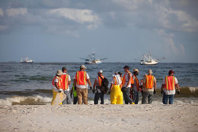 Response workers on the beach in response to the BP Deepwater Horizon oil leak. Baldwin County, Alabama. June 2010.