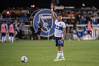 SAN JOSE, CA - AUGUST 13: Ryan Raposo #27 of the Vancouver Whitecaps prepares for a free kick during a game between San Jose Earthquakes and Vancouver Whitecaps at PayPal Park on August 13, 2021 in San Jose, California.