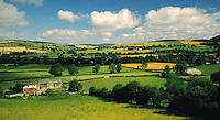 .Farms and fields near Clunton, Shropshire, England...