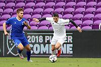Orlando, Florida - Saturday January 13, 2018: Paul Marie and Alan Winn. Match Day 1 of the 2018 adidas MLS Player Combine was held Orlando City Stadium.