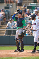 Hartford Yard Goats catcher Willie MacIver (22) during a game against the Somerset Patriots on September 12, 2021 at TD Bank Ballpark in Bridgewater, New Jersey.  (Mike Janes/Four Seam Images)