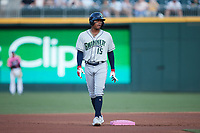 Cristian Pache (15) of the Gwinnett Stripers takes his lead off of second base during the game against the Charlotte Knights at Truist Field on July 17, 2021 in Charlotte, North Carolina. (Brian Westerholt/Four Seam Images)