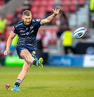 4th June 2021; AJ Bell Stadium, Salford, Lancashire, England; English Premiership Rugby, Sale Sharks versus Harlequins; Robert du Preez of Sale Sharks kicks a conversion