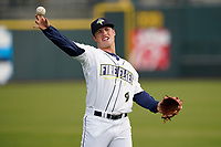 Jake Means (9) of the Columbia Fireflies before a game against the Charleston RiverDogs on Tuesday, May 11, 2021, at Segra Park in Columbia, South Carolina. (Tom Priddy/Four Seam Images)