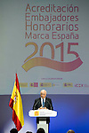 """Francisco Gonzalez during the 6th edition of the collecting badges to the new ambassadors fees """"Marca España"""" in his 6th edition at BBVA City in Madrid, November 12, 2015.<br /> (ALTERPHOTOS/BorjaB.Hojas)"""