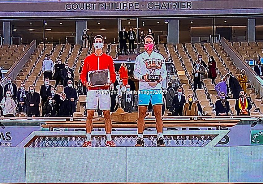 Paris, France, 10 /10/ 2020, Tennis, French Open, Roland Garros,  Men's final: rrunner up Novak Djokovic (SRB) and winner Rafael Nadal (ESP)<br /> Photo: tennisimages.com