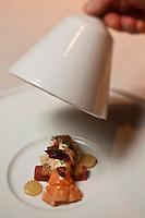 Europe/France/Auvergne/15/Cantal/Chaudes-Aigues:  <br /> Langoustine pochée avec rhubarbe, yaourt ras el hanout, verveine, recette de  Serge Vieira du Restaurant: Serge Vieira, au Château de Couffour