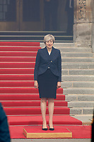 Prime Minister, Justin Trudeau, meet  with Prime Minister Theresa May of the United Kingdom (UK) in Ottawa, September 18, 2017.<br /> <br /> They discussed the Boeing lawsuit against Bombardier and Canada need to replace its aging jet fighters and other economic subects.<br /> <br /> PHOTO :  Raffi Kirdi - <br />  Agence Quebec Presse