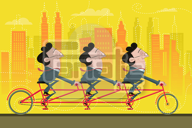 Illustrative image of happy businessmen riding bicycle together representing partnership