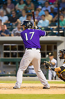 Kristopher Negron (17) of the Louisville Bats at bat against the Charlotte Knights at BB&T Ballpark on June 26, 2014 in Charlotte, North Carolina.  The Bats defeated the Knights 6-4.  (Brian Westerholt/Four Seam Images)