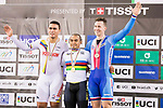 Mohd Azizulhasni Awang of the Malaysia Team celebrates his victory in the Men's Keirin Finals with Fabian Puerta Zapata of the Colombia team and Tomas Babek of the Czech Republic team as part of the 2017 UCI Track Cycling World Championships on 13 April 2017, in Hong Kong Velodrome, Hong Kong, China. Photo by Chris Wong / Power Sport Images