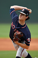 Starting pitcher Ian Anderson (19) of the Rome Braves delivers a pitch in game one of a doubleheader against the Greenville Drive on Tuesday, May 30, 2017, at Fluor Field at the West End in Greenville, South Carolina. Rome won, 10-7. (Tom Priddy/Four Seam Images)