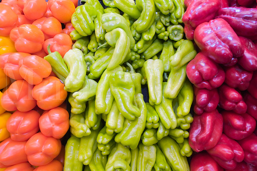 Three types of peppers on sale at the supermarket.