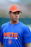 St. Lucie Mets outfielder Gilbert Gomez #17 during practice before a game against the Bradenton Marauders on April 12, 2013 at McKechnie Field in Bradenton, Florida.  St. Lucie defeated Bradenton 6-5 in 12 innings.  (Mike Janes/Four Seam Images)