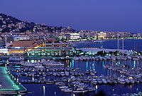 Cannes old port and marina evening Cote d Azur France