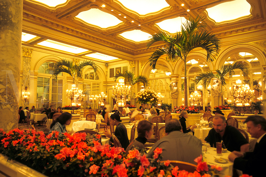 Famous Plaza Hotel atrium restaurant in New York City.